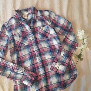 Pink & Blue Plaid Shirt